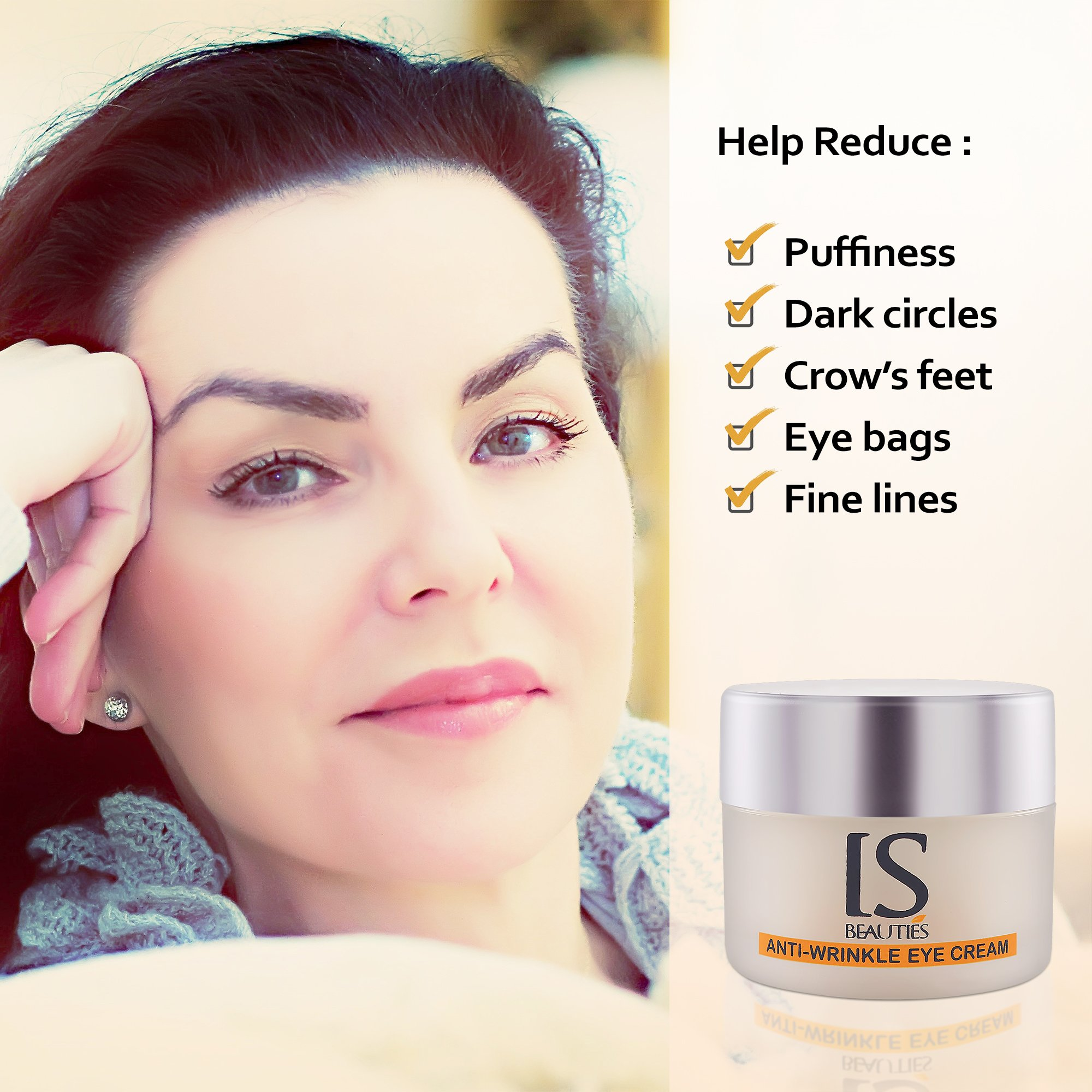 IS Beauties Eye Cream - Anti Aging and Wrinkles with Diamond Powder for Bags and Dark Circles and Puffiness - Hydrate and Moisturize the Skin of Eyes Area - Collagen Production and Reversing UV Damage