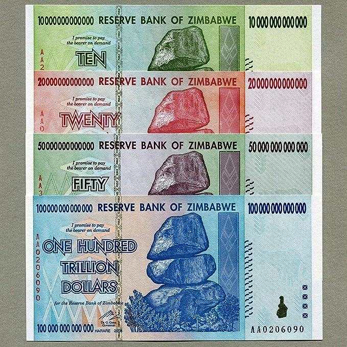 Billetes de Zimbabwe 100, 50, 20 y 10 trillones de dólares, dinero, inflación, récord: Amazon.es: Oficina y papelería