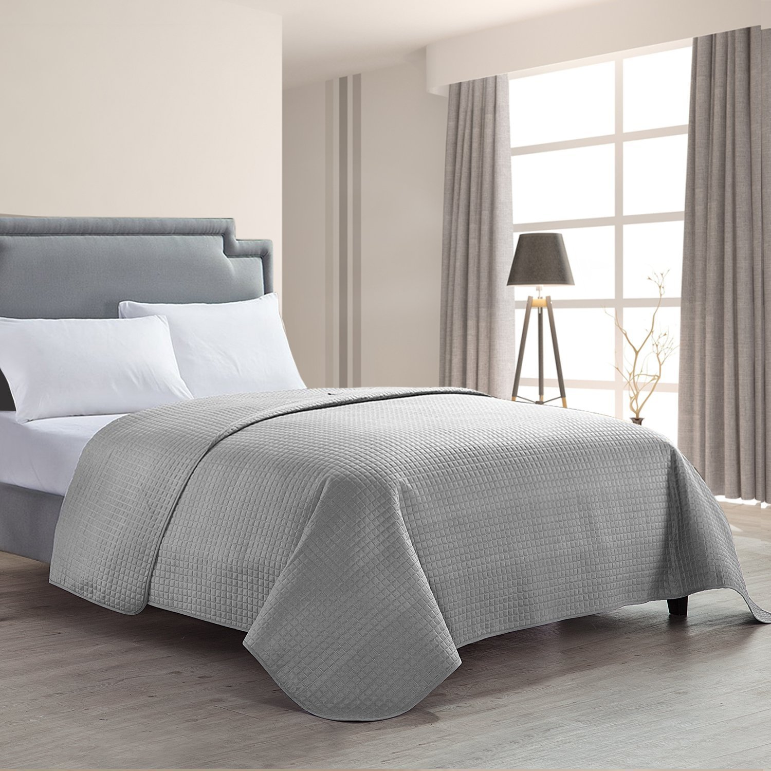 HollyHOME Luxury Checkered Super Soft Solid Single Pinsonic Bed Quilt Bedspread Bed Cover, Grey, King