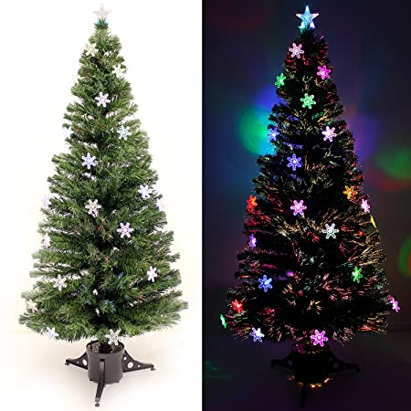 werchristmas 6 ft pre lit multi colour fibre optic christmas tree rh amazon co uk