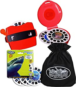 View Master Classic 3D Adventures Discovery Boxed Set & Marine Life Refill Gift Set Bundle with Bonus Matty's Toy Stop Storage Bag - 2 Pack