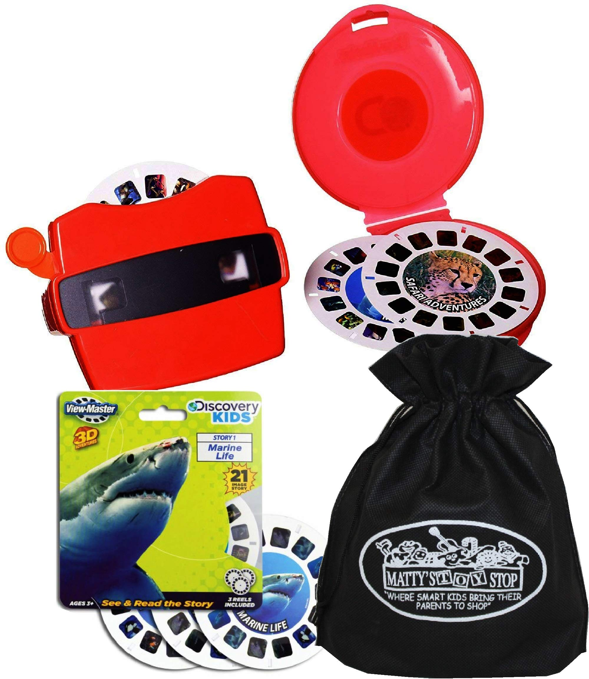 View Master Classic 3D Adventures Discovery Boxed Set & Marine Life Refill Gift Set Bundle with Bonus Matty's Toy Stop Storage Bag - 2 Pack by View Master (Image #5)