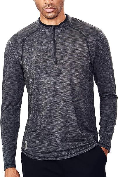 Moisture Wicking 1//4 Zip Neck Running Top Mens Quarter Zip Long Sleeve Sports T Shirt
