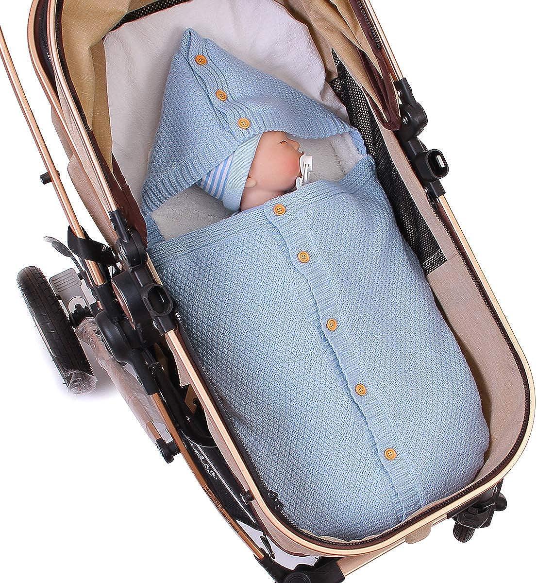 Borlai Newborn Baby Thick Warm Sleeping Bag Knit Fleece Blanket Winter Stroller Wrap for 0-12 Months