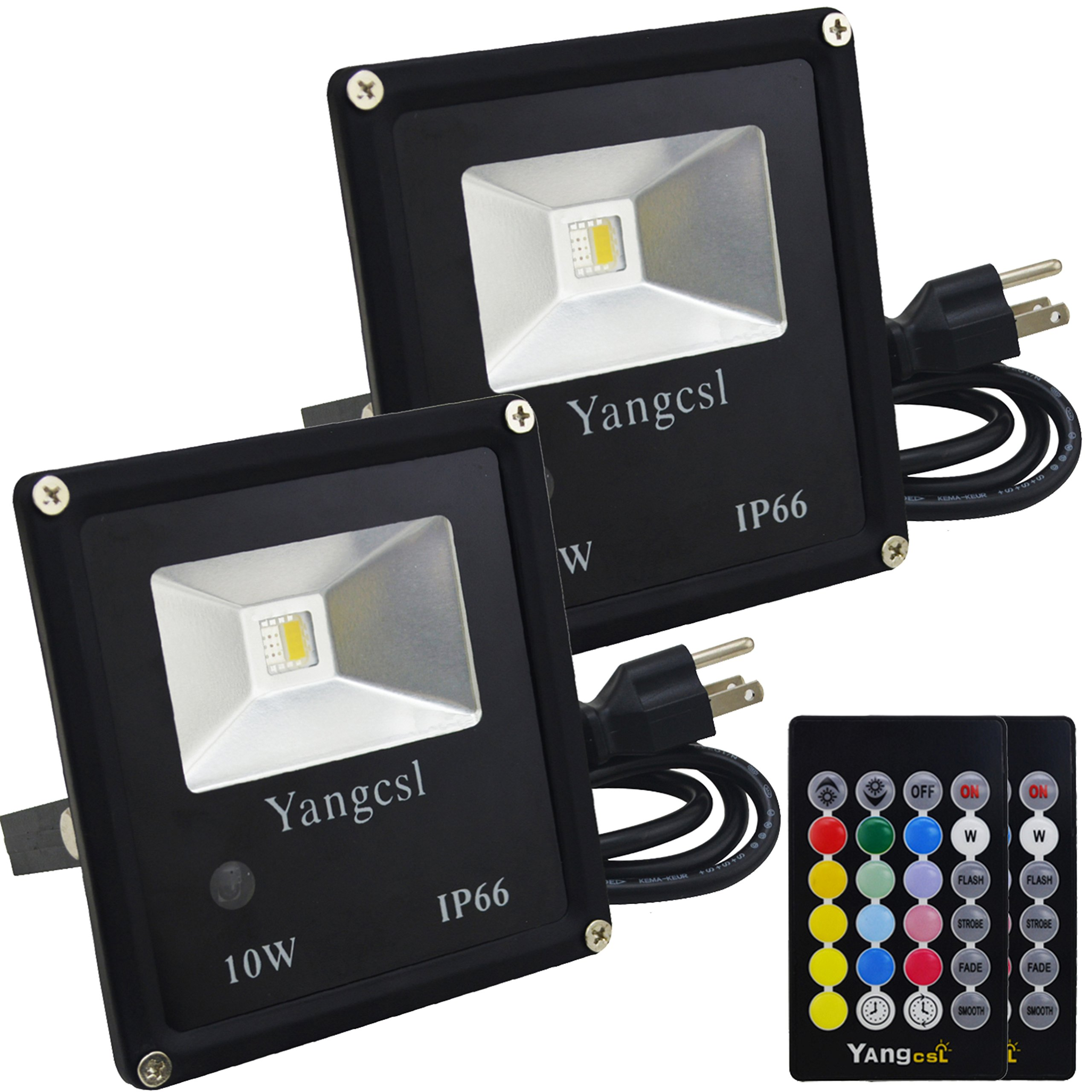Yangcsl Timing Remote Control 10W RGBW LED Flood Lights, Color Changing LED Security Lights, RGB and Warm White , Waterproof LED Floodlight, US 3-Plug, Wall Washer Light (2 Pack)