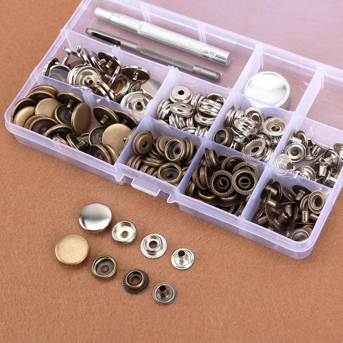 50x bouton pression métal argenté bronzé outil pour cuir maroquinerie 10-17mm
