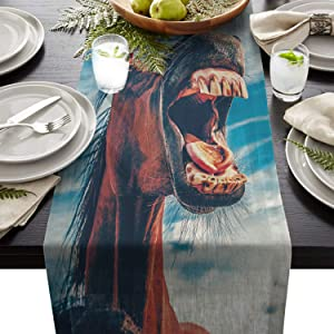 Fandim Fly Dining Table Runner 13 x 90 Inch, Funny Horse Illustrations Table Runners for Morden Stylish Wedding Party Holiday Table Setting Decor
