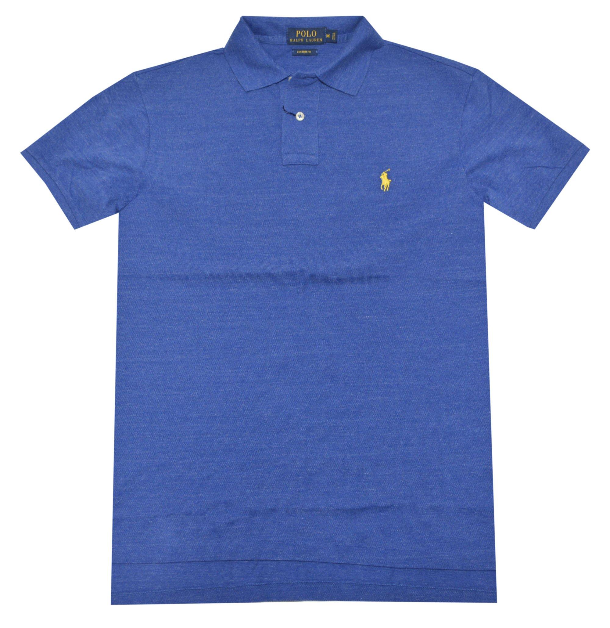 Polo Ralph Lauren Men Custom Fit Mesh Pony Logo Shirt (XX-Large, Sapphire heather) by Polo Ralph Lauren (Image #1)