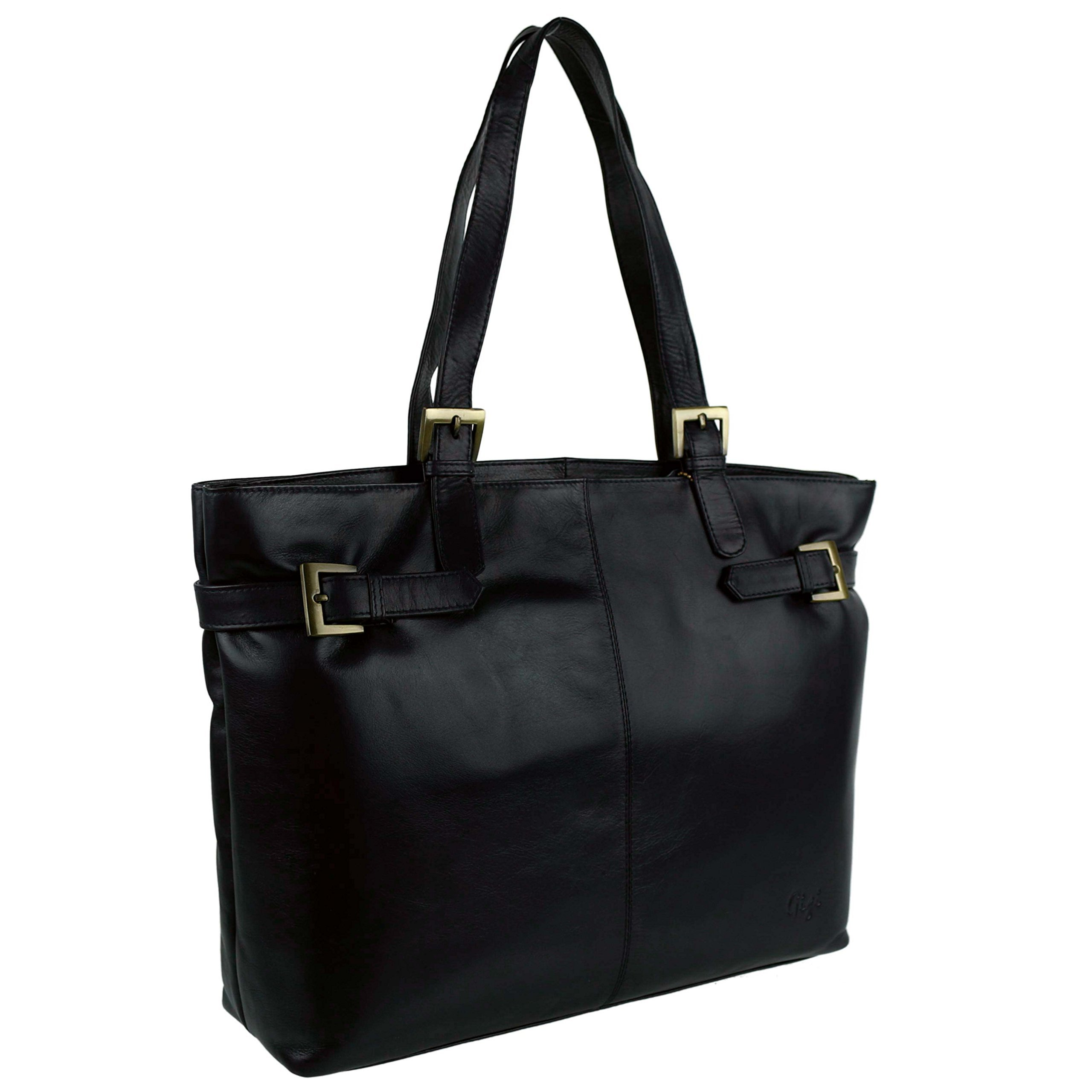 GIGI Women's Soft Leather Work Bag By Gigi Classic Navy Brown Handbag Large Black by GIGI