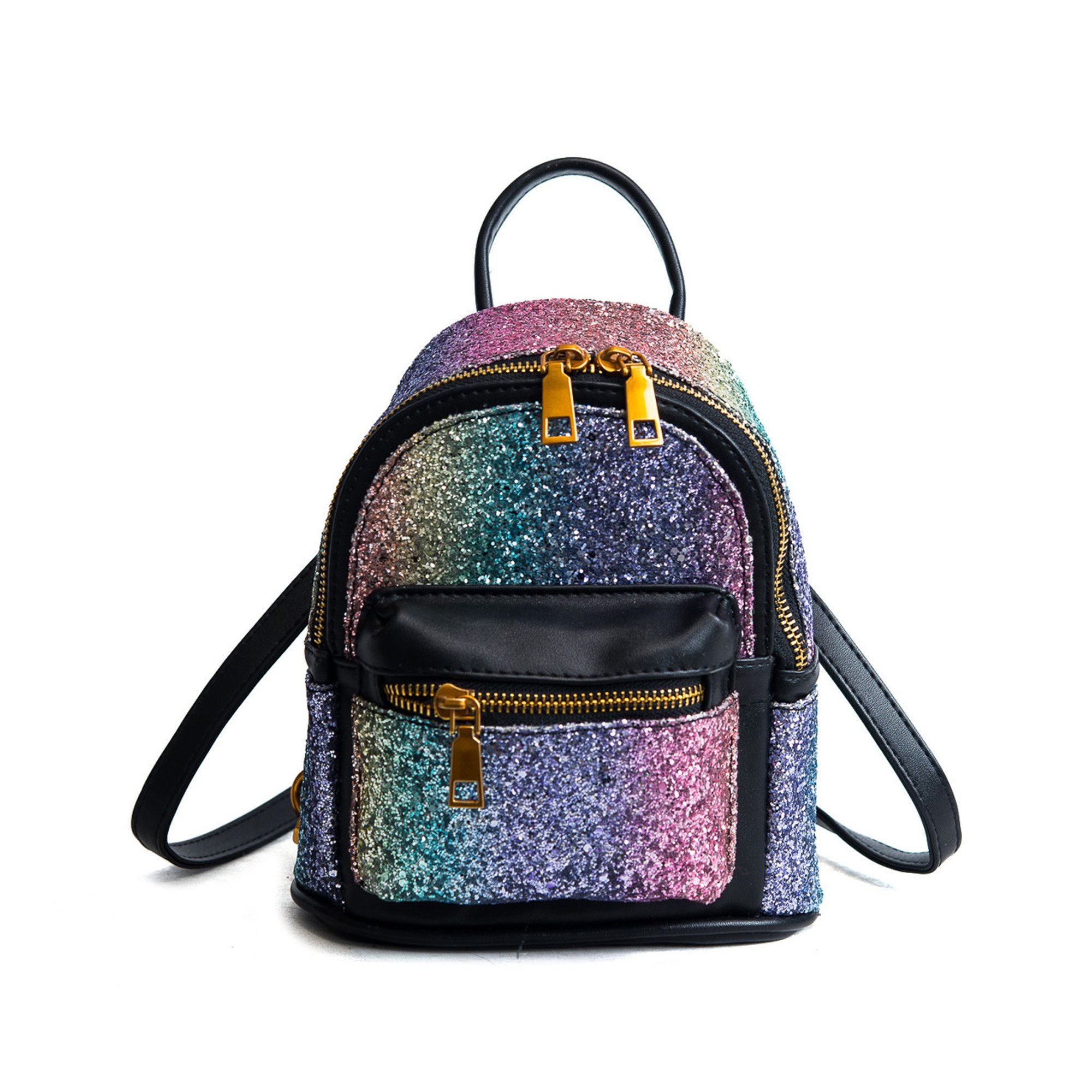Girls Bling Mini Travel Backpack Kids Children School Bags Satchel Purses Daypack (black rainbow)