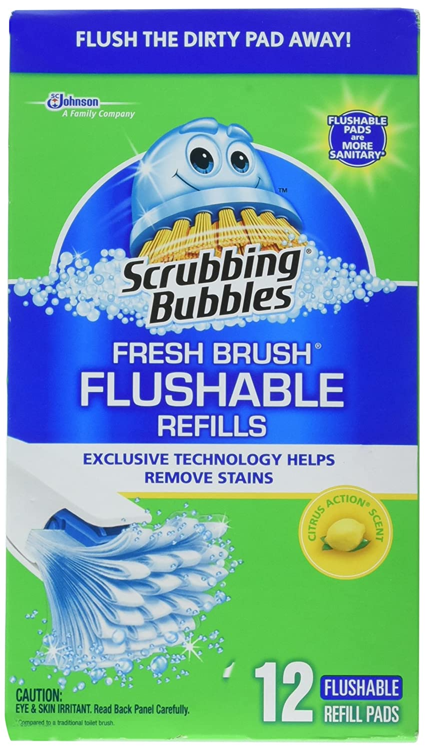 Scrubbing Bubbles 71102 12 Count, Fresh Brush Flushable Pad Refill SC Johnson And Son Inc. TRVAL41712
