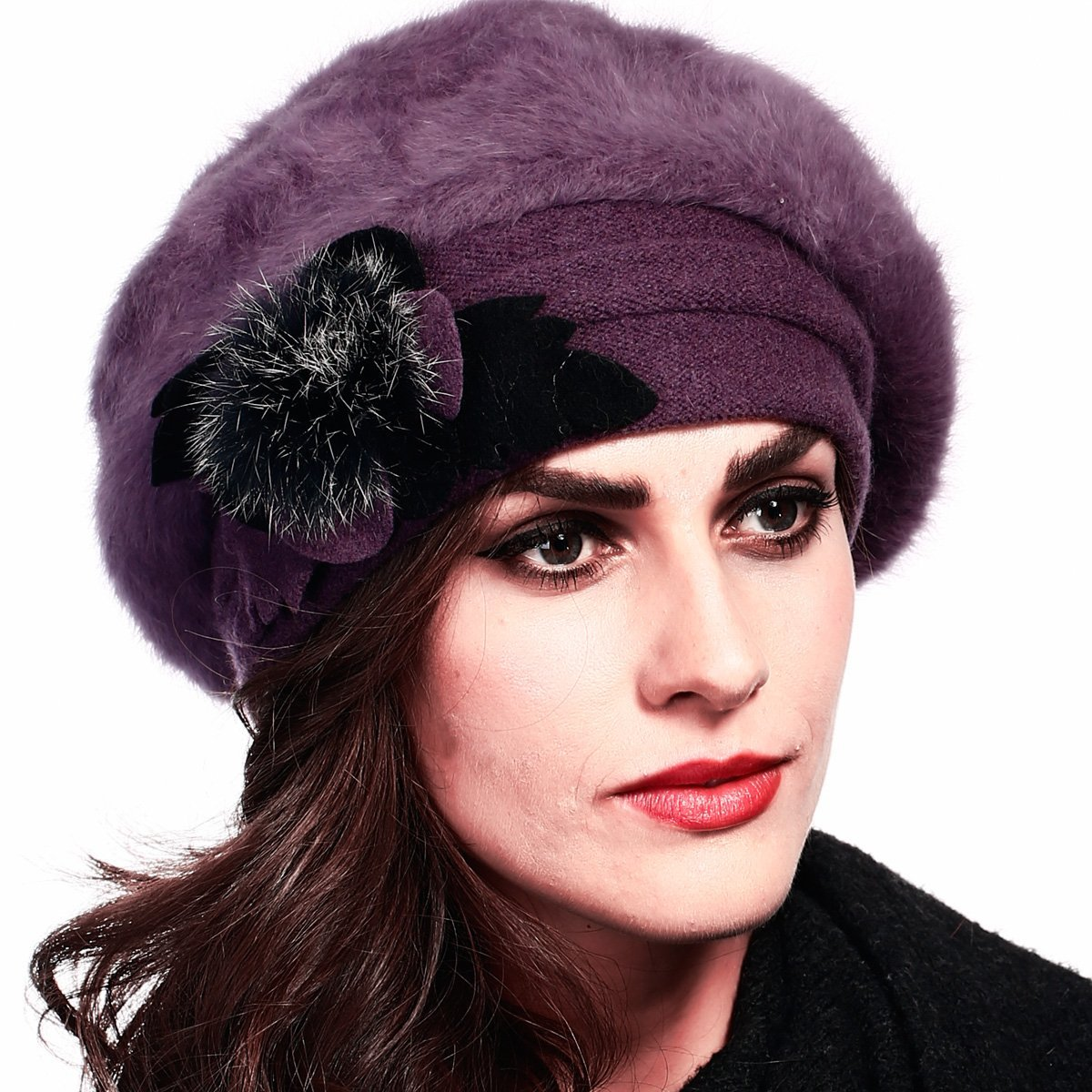 Retro Women Floral Trimmed Wool Blend Cloche Winter Hat (Angola-Purple)