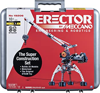 Erector by Meccano Super Construction 25-In-1 Motorized Building Set, Steam Education Toy, 638 Parts