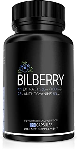 Ahana Nutrition Bilberry Extract – Natural Bilberry Supplement for Eye Support, Aids Inflammation and Circulation Bilberry 1000mg 100 Capsules