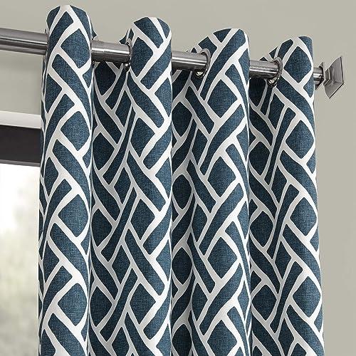 HPD Half Price Drapes PRCT-D07D-96-GR Grommet Printed Cotton Curtain 1 Panel , 50 X 96, Martinique Blue