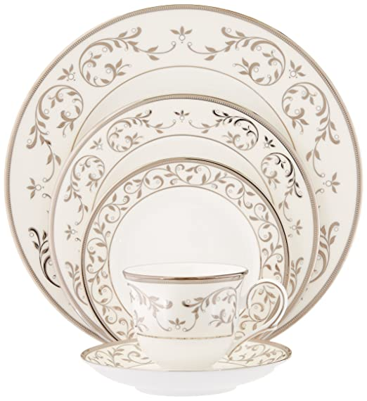 Christmas Tablescape Decor - Lenox Opal Innocence Silver and White 5-Piece Place Setting