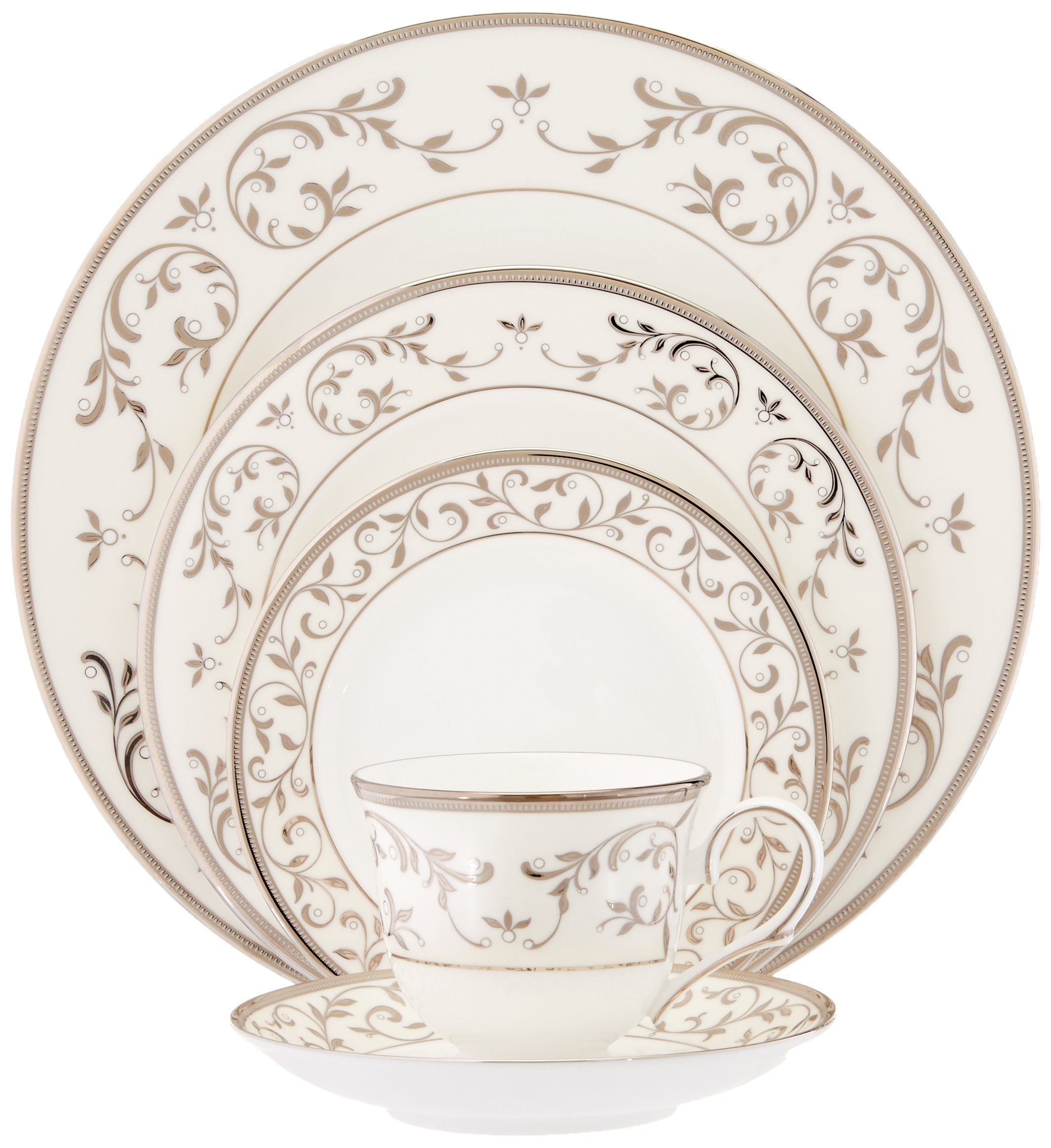 Lenox Opal Innocence Silver 5-Piece Place Setting, White - 834221 - Crafted of Lenox bone china Platinum and enamel pearl accents Dishwasher safe - kitchen-tabletop, kitchen-dining-room, dinnerware-sets - 81oa9wntCrL -