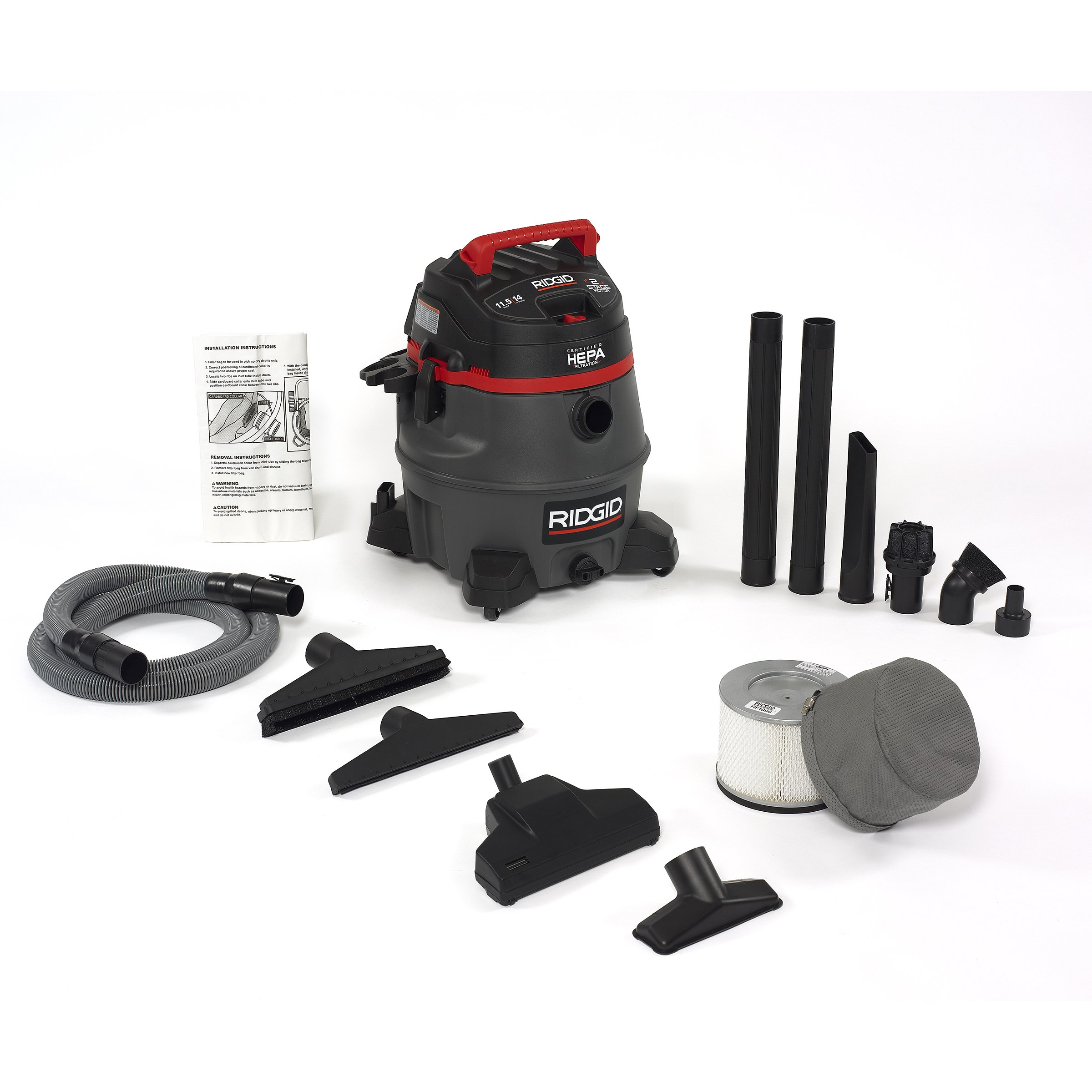RIDGID 50368 RV2400HF Wet Dry Vacuum, 14-Gallon Shop Vacuum with Certified HEPA Filtration, 2-Stage 11.5A Motor, Casters, Pro Hose, Drain, Blower Port