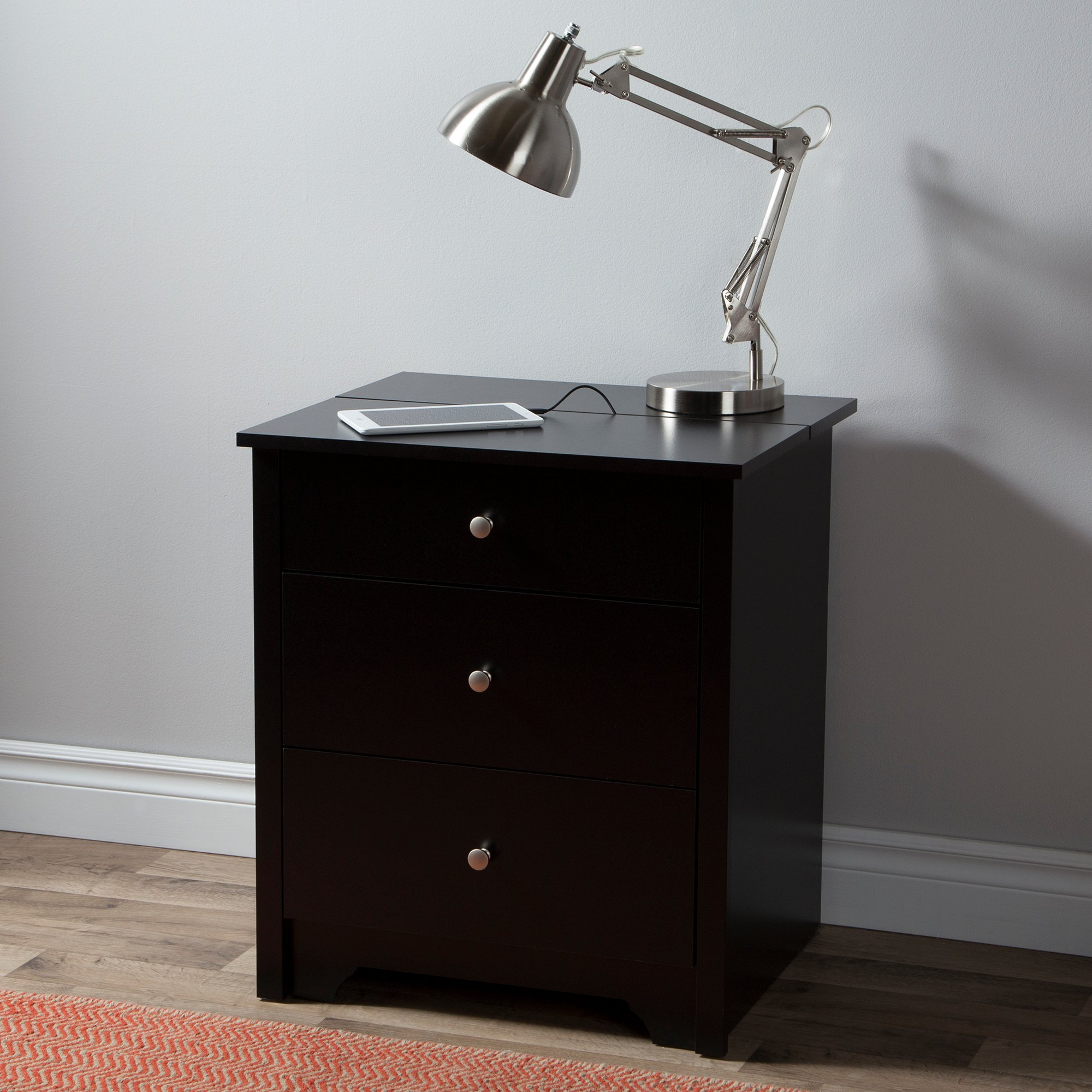 South Shore Vito Nightstand with 2 Drawers and Charging Station, Pure Black