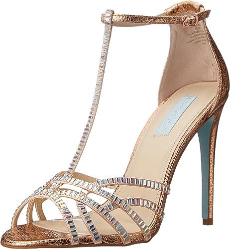 Betsey Johnson Low-Heel T-Strap Sandals Gold