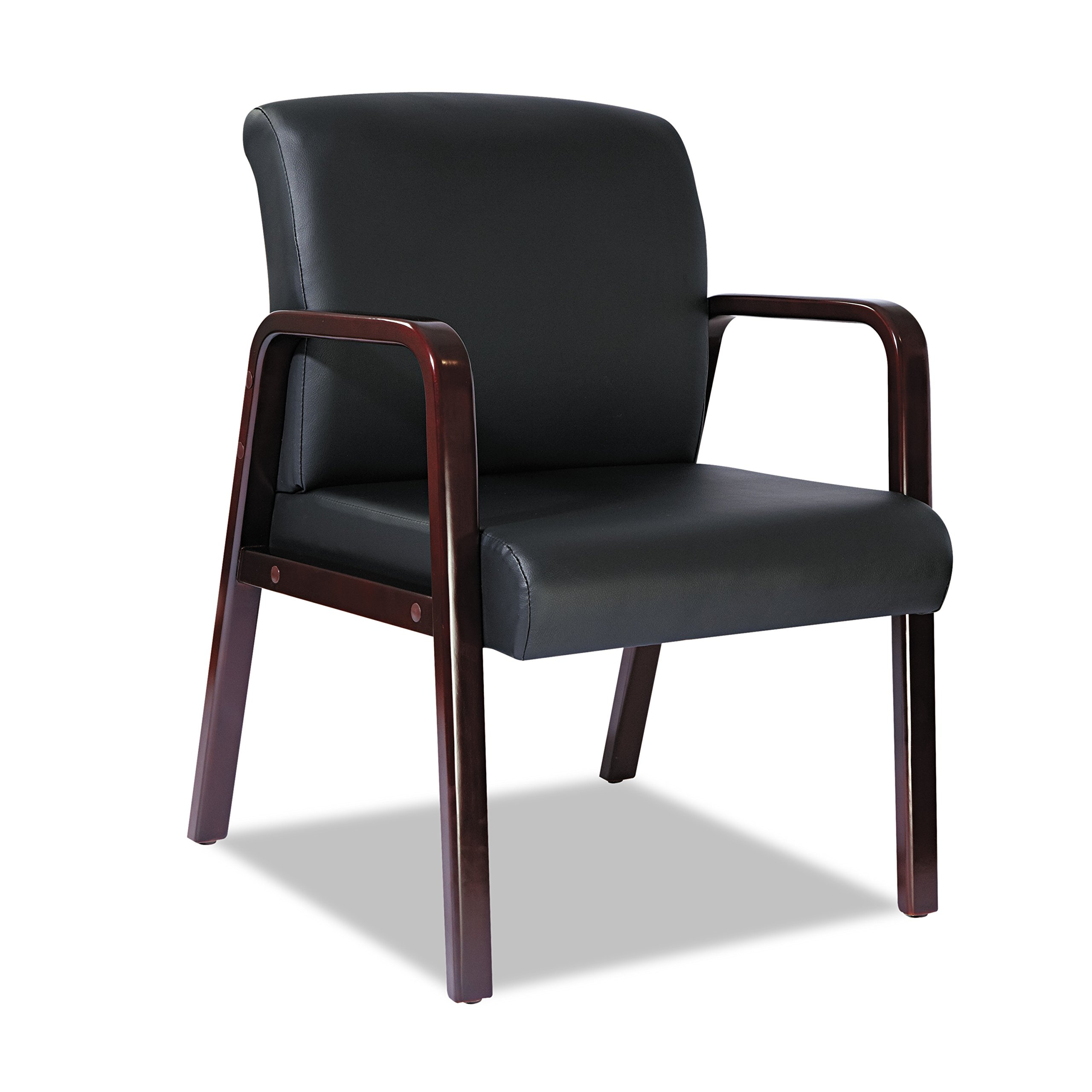 Alera Reception Lounge Series Guest Chair, Mahogany/Black Leather by Alera