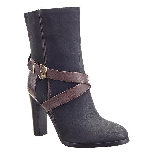 Sopily - Zapatillas de Moda Botines Stiletto Media pierna mujer Hebilla metálico Talón Tacón ancho alto