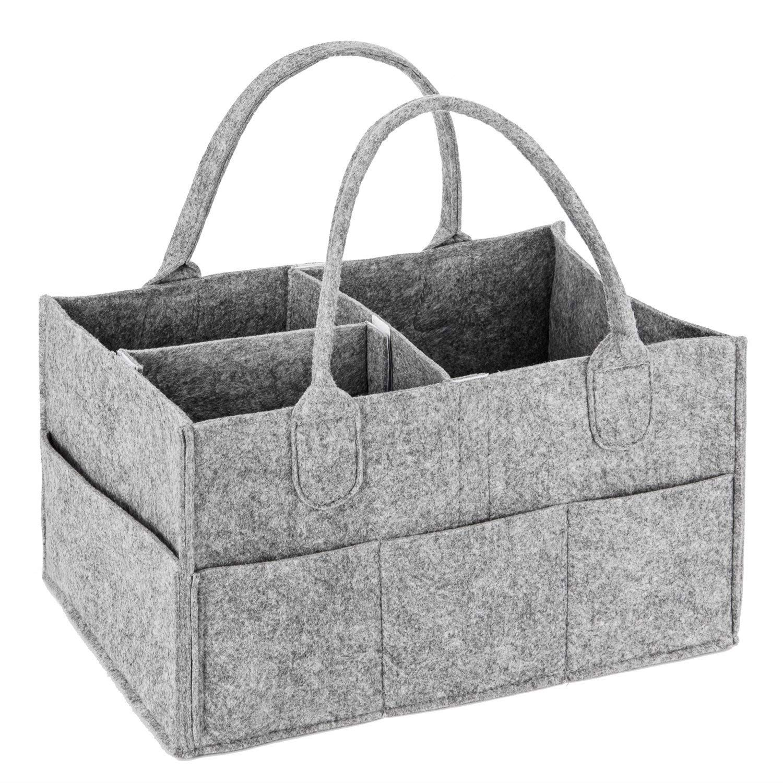 Binew Baby Diaper Caddy-Nursery Storage Bin for Diapers & Toys, Large Portable Car Travel Organizer Basket with Versatile Design, Great Newborn Registry Gift (Grey) C-50