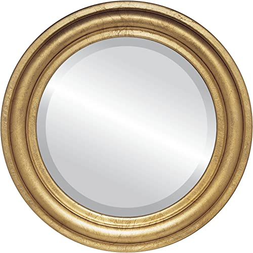 Round Beveled Wall Mirror for Home Decor – Philadelphia Style – Gold Leaf – 34×34 Outside Dimensions