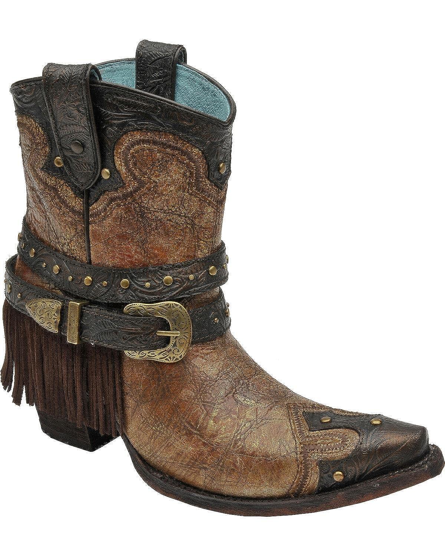 Corral Women's Bronze Fringe Studded Ankle Snip Boot Snip Ankle Toe B01F2YL5M0 7.5 B(M) US|Cognac 7a54c0