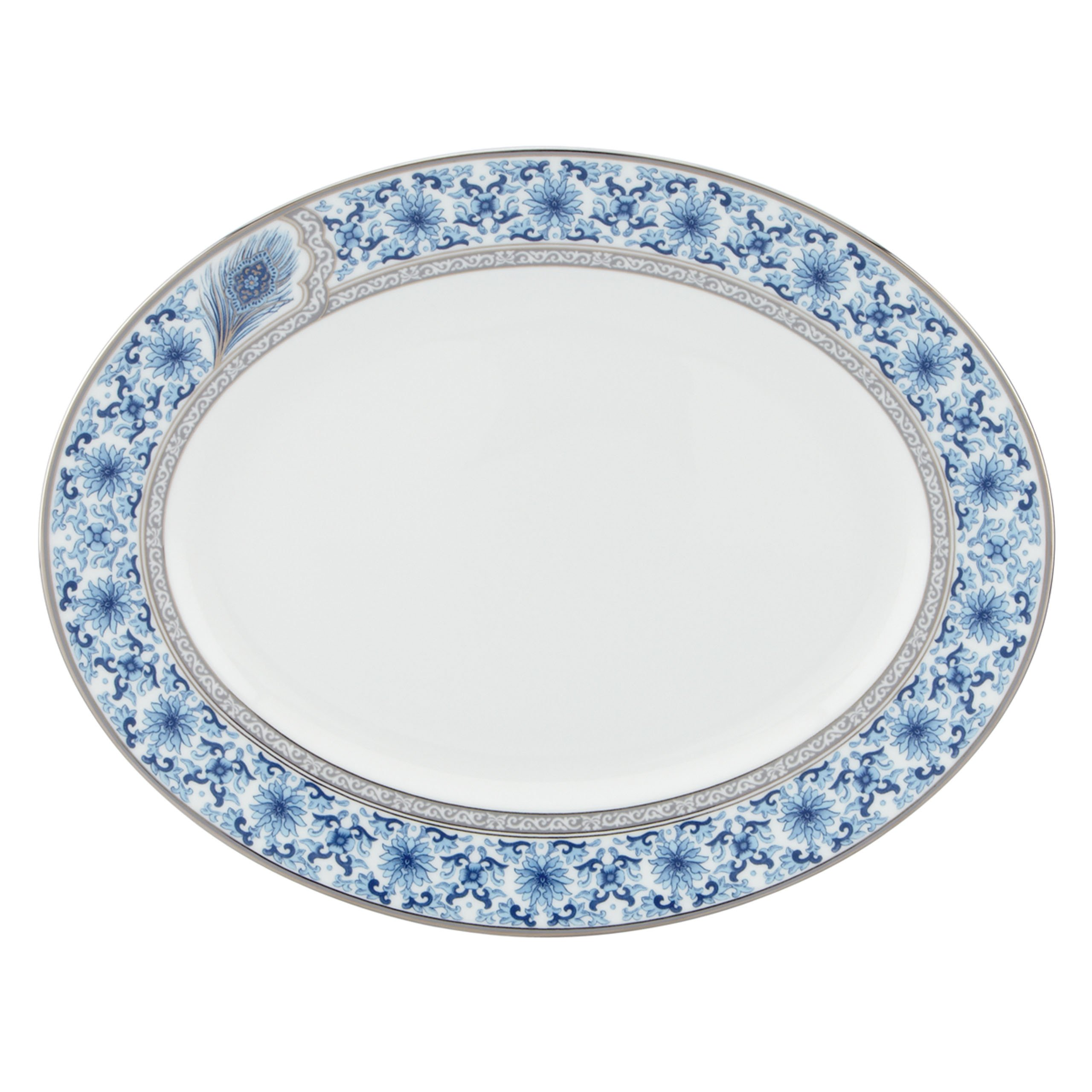Lenox Marchesa Couture Oval Platter, Sapphire Plume
