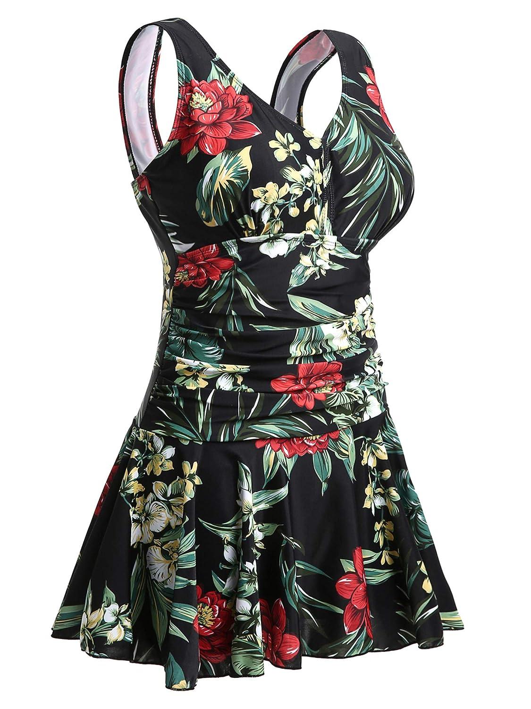 MiYang Womens Plus-Size Flower Printing Shaping Body One Piece Swim Dresses Swimsuit