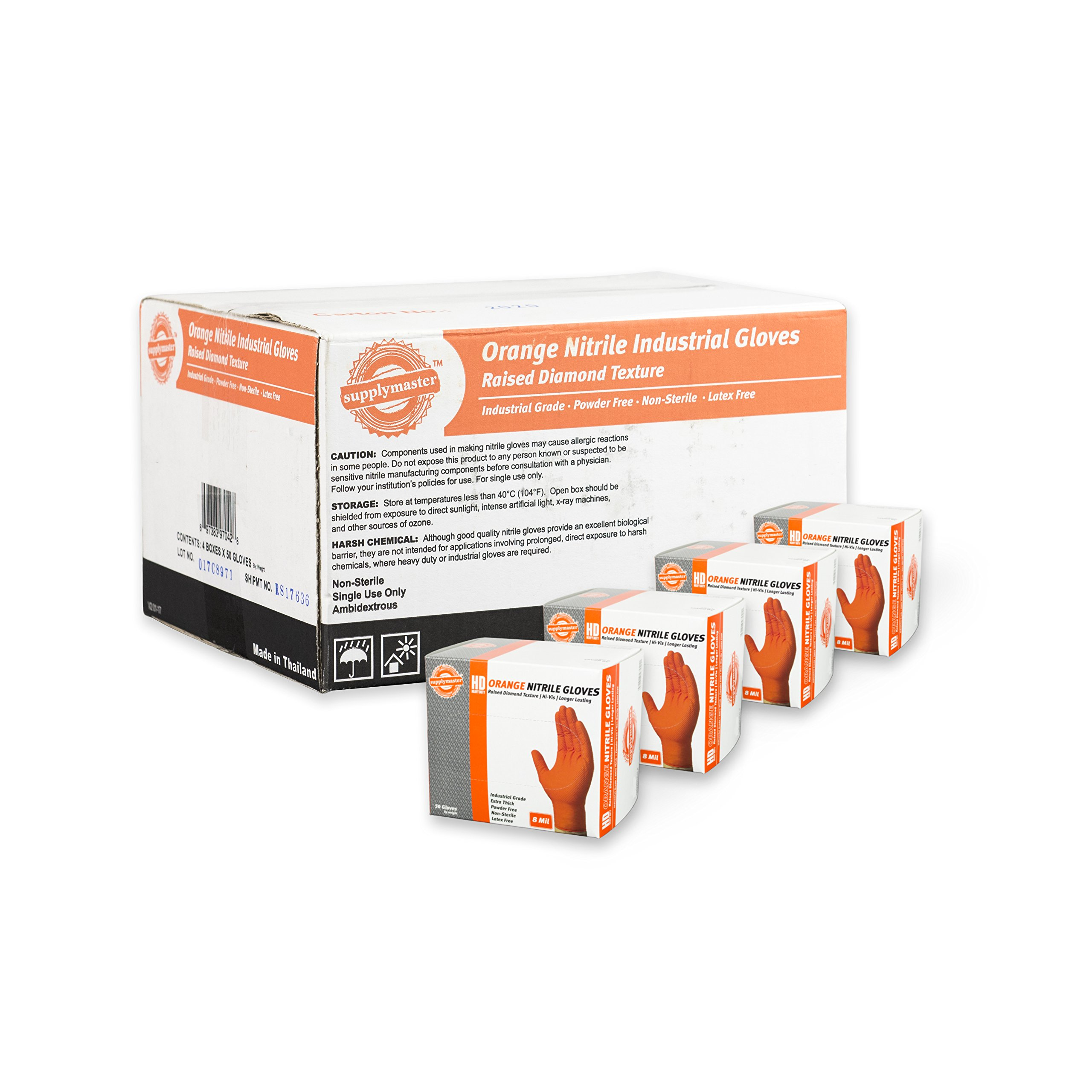 SupplyMaster Orange Nitrile Industrial Disposable Gloves - 8 Mil, Raised Diamond Texture, Powder Free, Non-Sterile, Latex Free, Ambidextrous, Large, Case of 200 by SupplyMaster