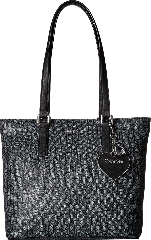 593d6aa47a Amazon.com: Calvin Klein Women's Monogram Tote Textured White/Black/Black  One Size: Shoes