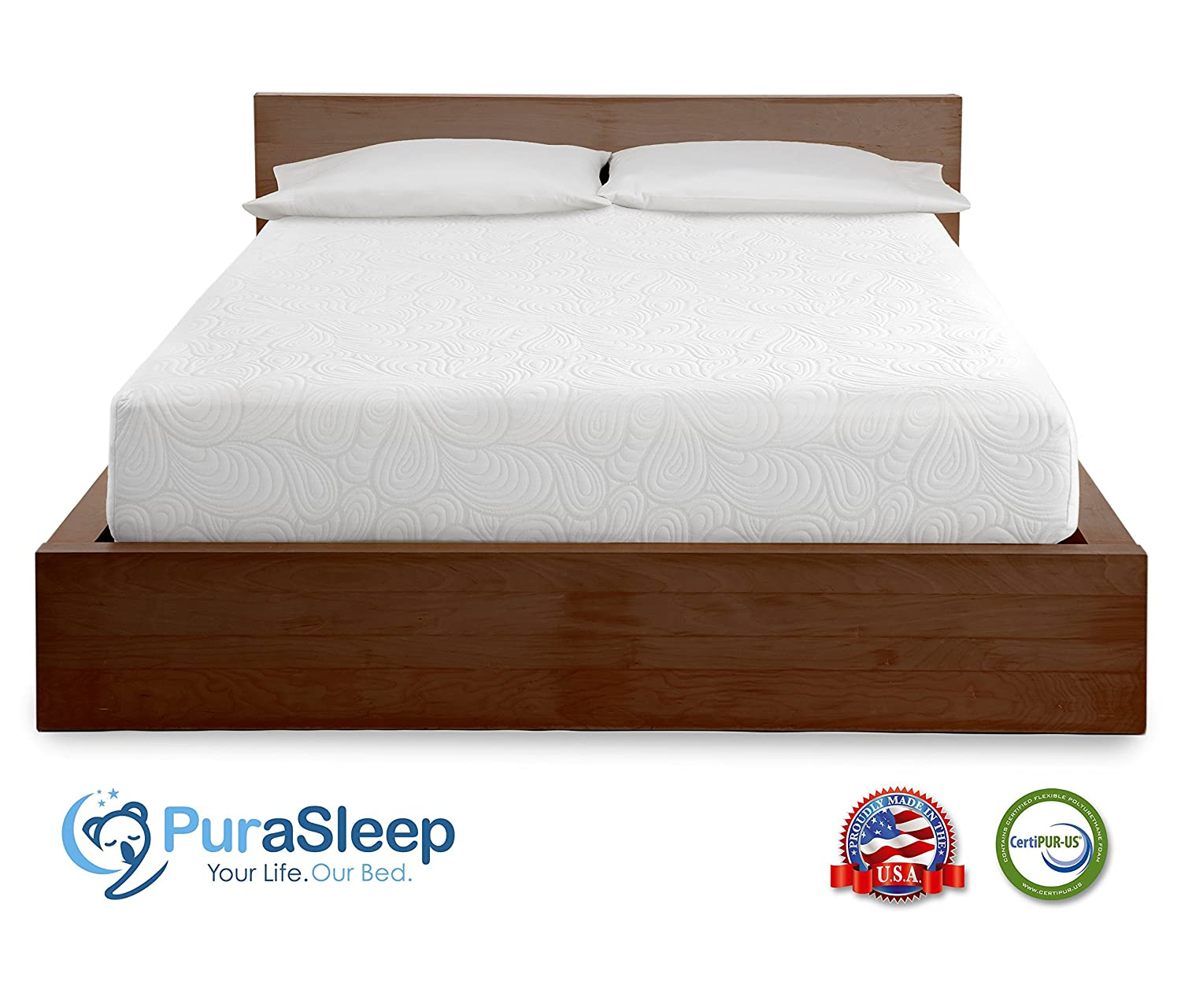 amazon com purasleep 10 coolflow memory foam mattress made in