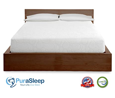 purasleep 10 inch coolflow memory foam mattress made in the usa 10year