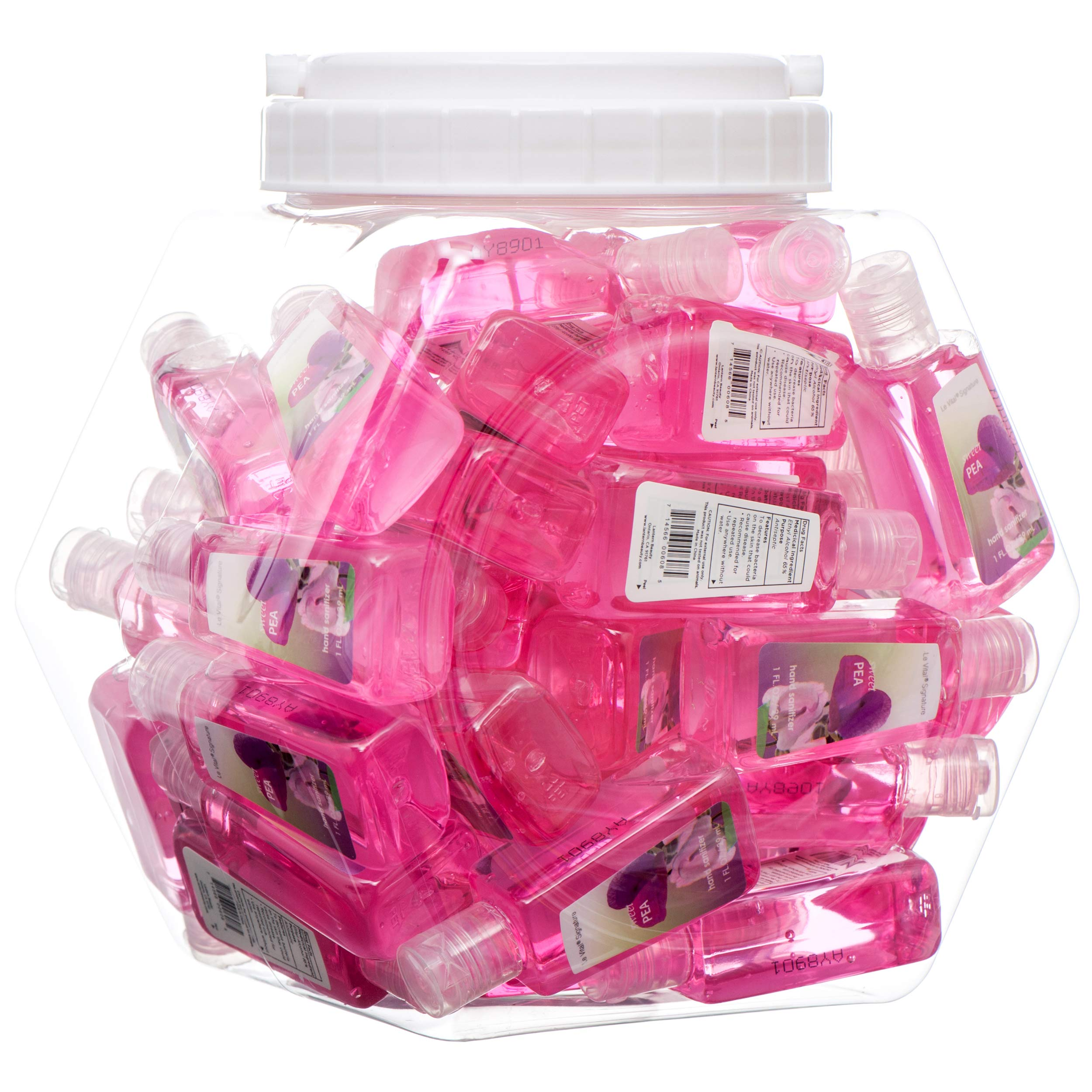 48 Individual Hand Sanitizer Bottles In a Bowl Display. Perfect Size for Baby Shower Favors, Wedding Receptions Gifts, Baptism Goody Bags.1 floz Each. (Sweet Pea)