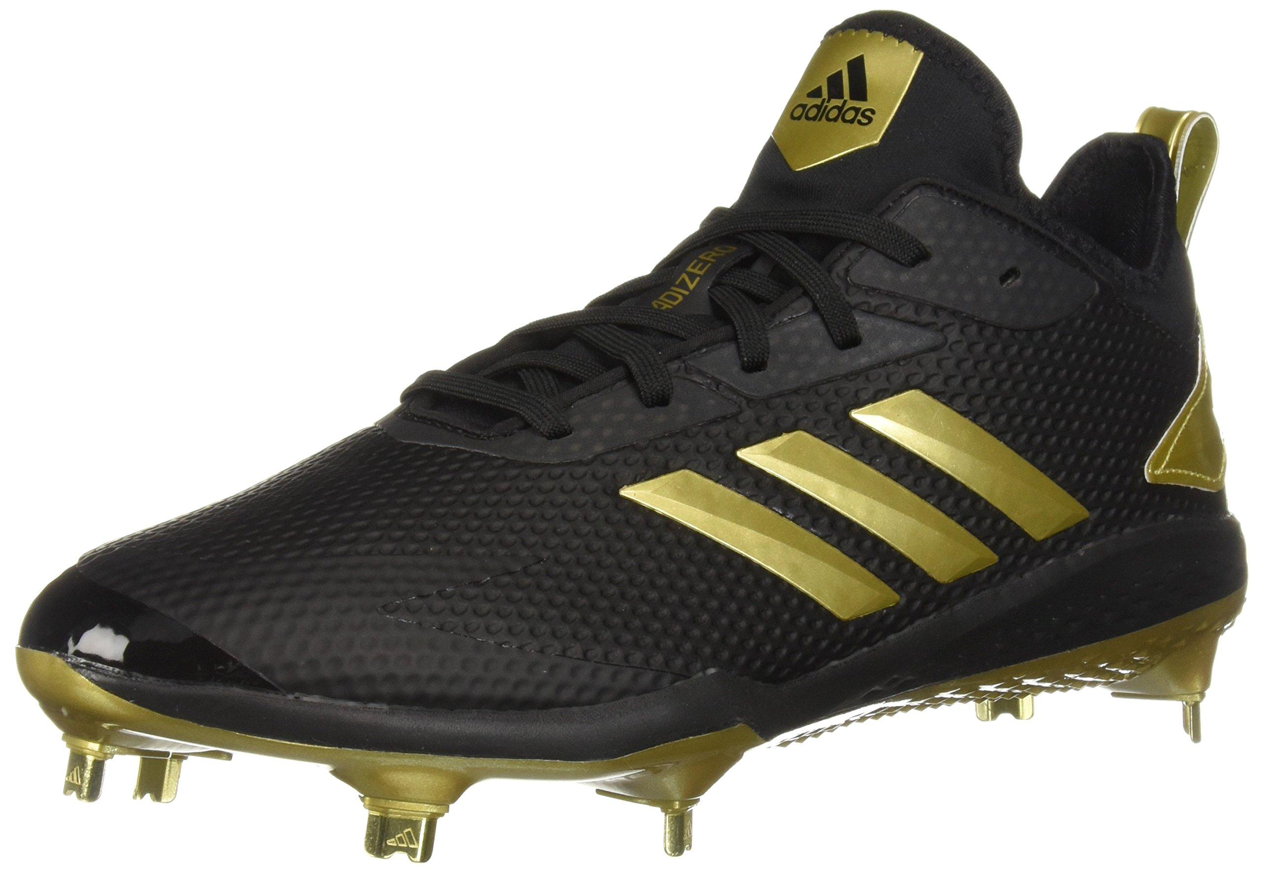adidas Men's Adizero Afterburner V Baseball Shoe, Black/Gold Metallic/Gold Metallic, 9 M US by adidas