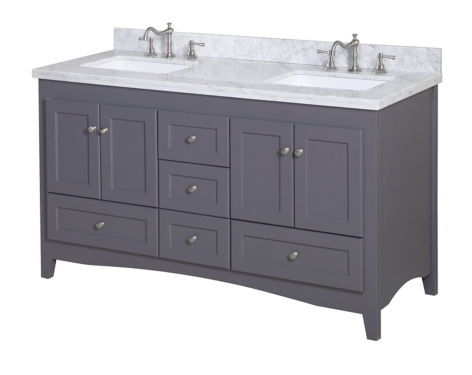 Abbey kitchens and bathrooms - Kitchen Bath Collection Kbc38602gycarr D Abbey Double Sink Bathroom Vanity With Marble Countertop Cabinet With Soft Close Function And Undermount Ceramic