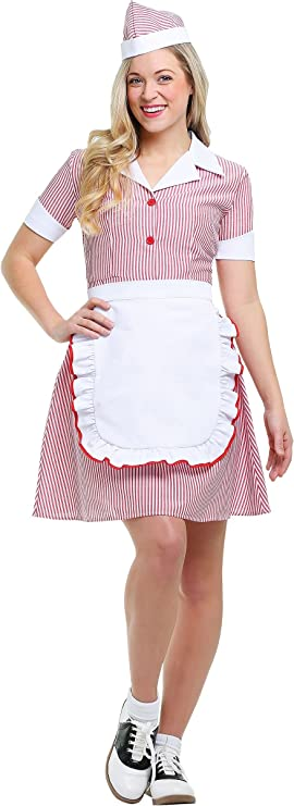 1950s Costumes- Poodle Skirts, Grease, Monroe, Pin Up, I Love Lucy Womens Plus Size Car Hop Costume $34.99 AT vintagedancer.com