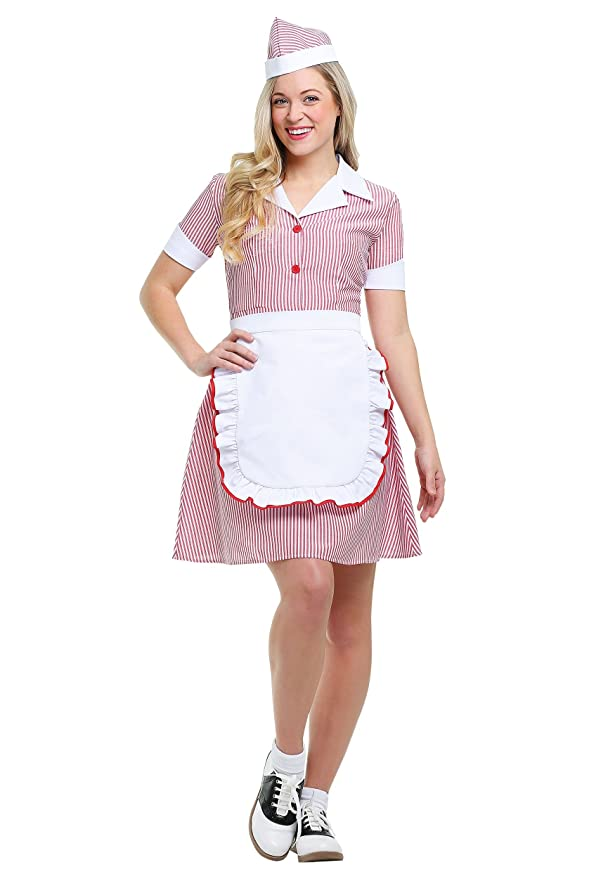 1950s Costumes- Poodle Skirts, Grease, Monroe, Pin Up, I Love Lucy Womens Car Hop Costume $39.99 AT vintagedancer.com