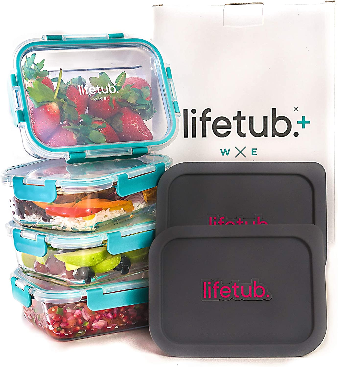 lifetub+ -Glass Food Storage Containers with Lids Airtight, Large Glass Meal Prep Containers 10 Pack (4x35oz) (4x leakproof lids) 2x Reheat Silicone Lids -, BPA Free Food Storage Container Ovenproof