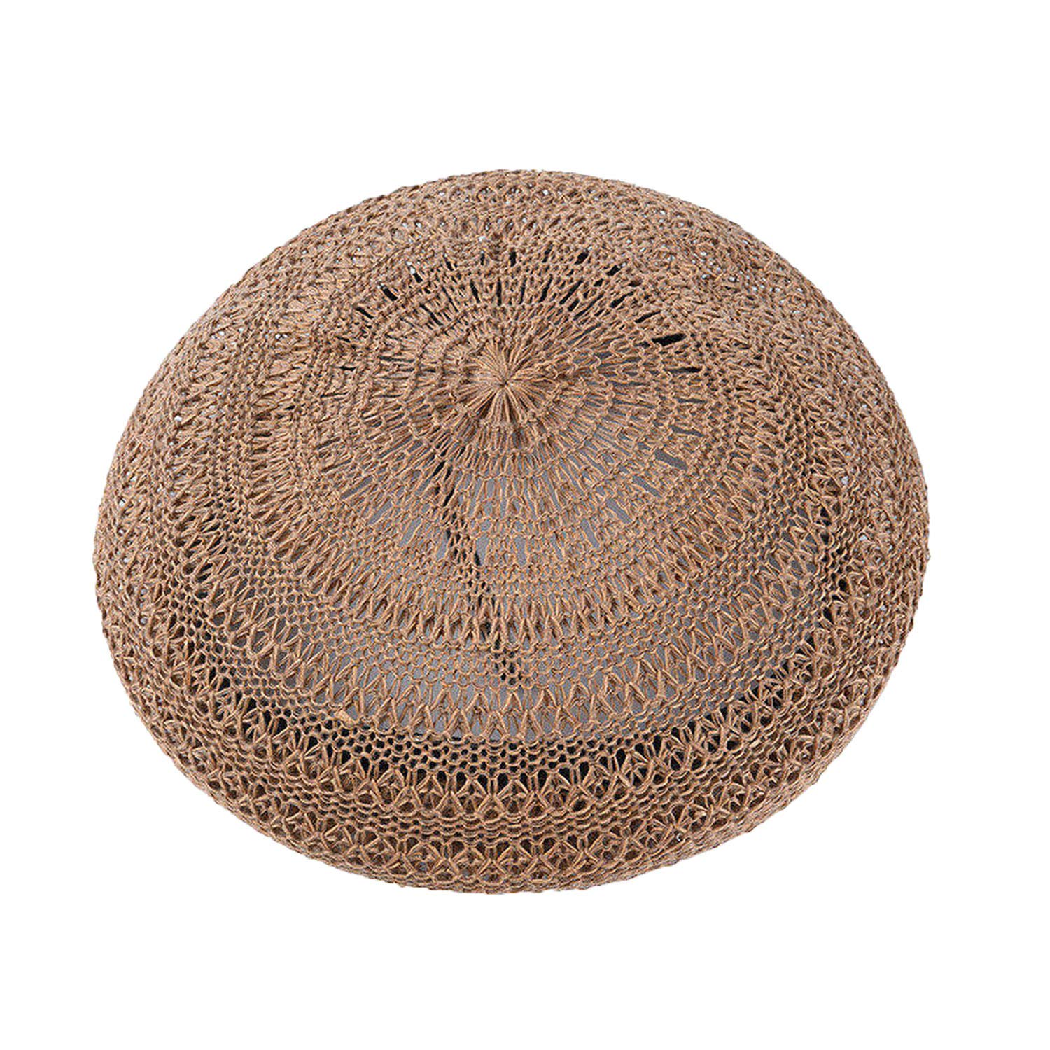 Spring Summer French Berets Handmade Knitted Female Berets Hollow Breathable Painter Hat Student Berets Camel