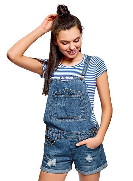 Women/'s Dungaree Ripped Denim Jeans Jumpsuit XS//S//M//L//XL