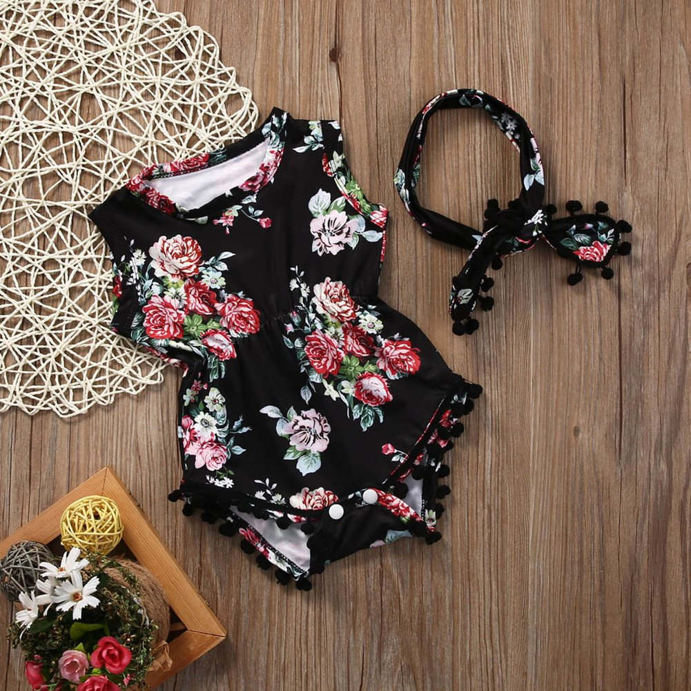 18d30c5a75a79 Lovely Baby Girl Romper Clothes 2017 Summer Floral Tassel Bodysuit Jumpsuit  +Headband 2PCS Outfit Sunsuit Tracksuit Clothing Set
