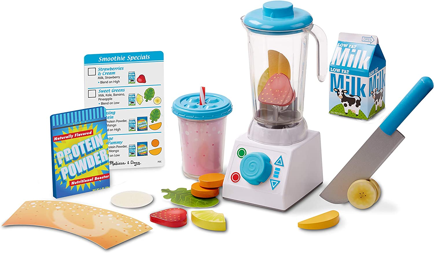 Melissa & Doug Smoothie + Shakes Blender Set | Pretend Play | Play Food | 3+ | Gift for Boy or Girl