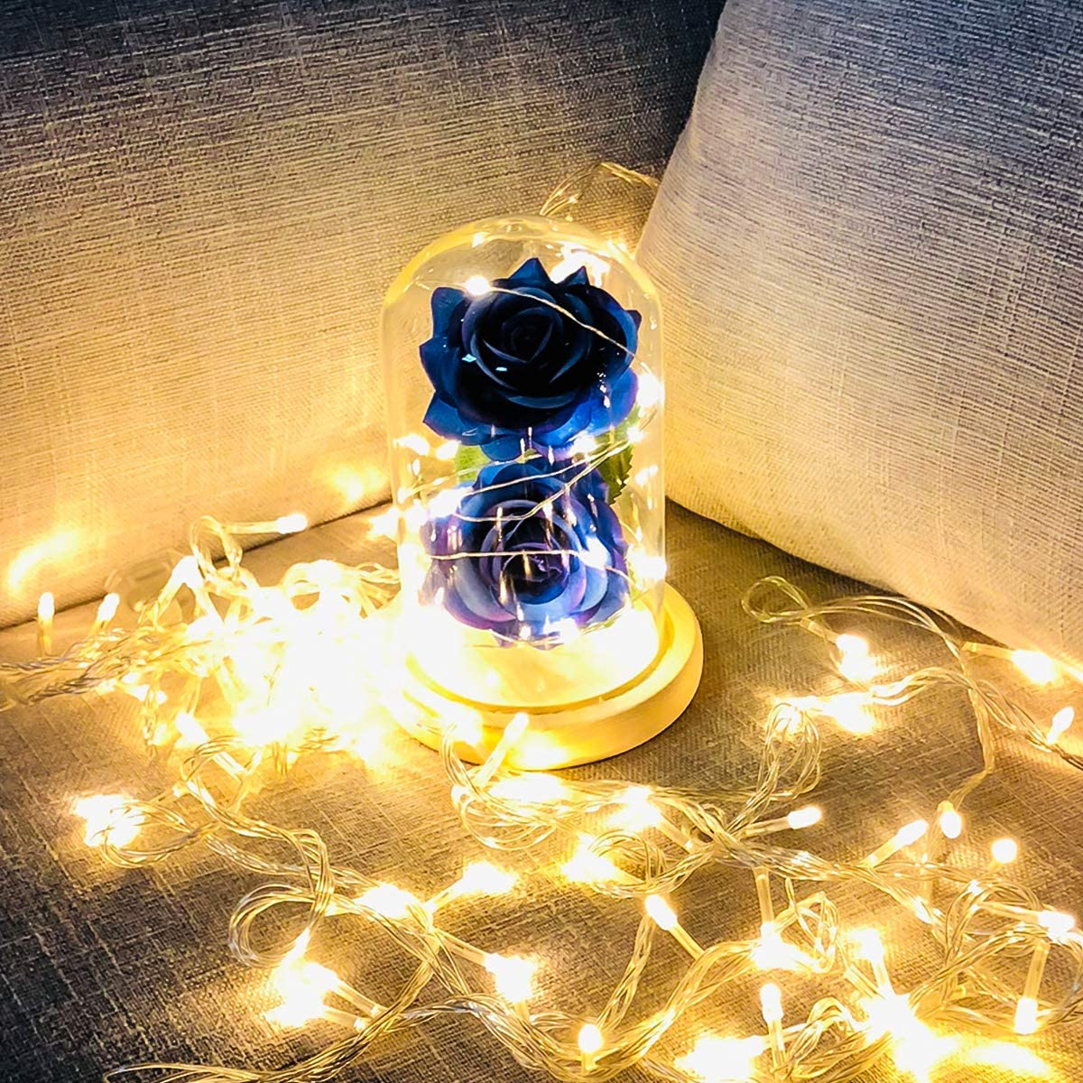 Rose Flower in Glass Dome w//LED Fairy String Lights Gift for her in Birthday Wedding Valentines Day,Mothers Day,Anniversary Blue