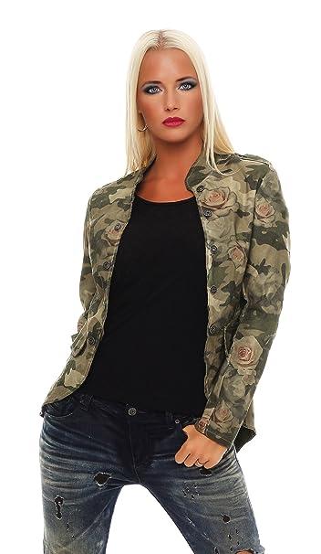 Zarmexx Chaqueta Blazer De Mujer Militar Chaqueta Camuflaje/Rosa Estilo Uniforme Chaqueta de Entretiempo Informal