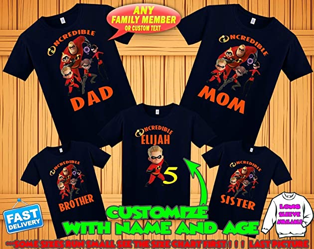 Amazon Incredibles 2 Birthday Shirt Theme Party Shirts Family Boy Handmade