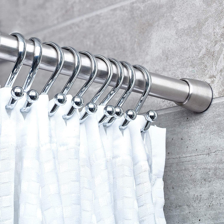 iDesign Barra para cortinas de ducha, soporte para cortinas de ...