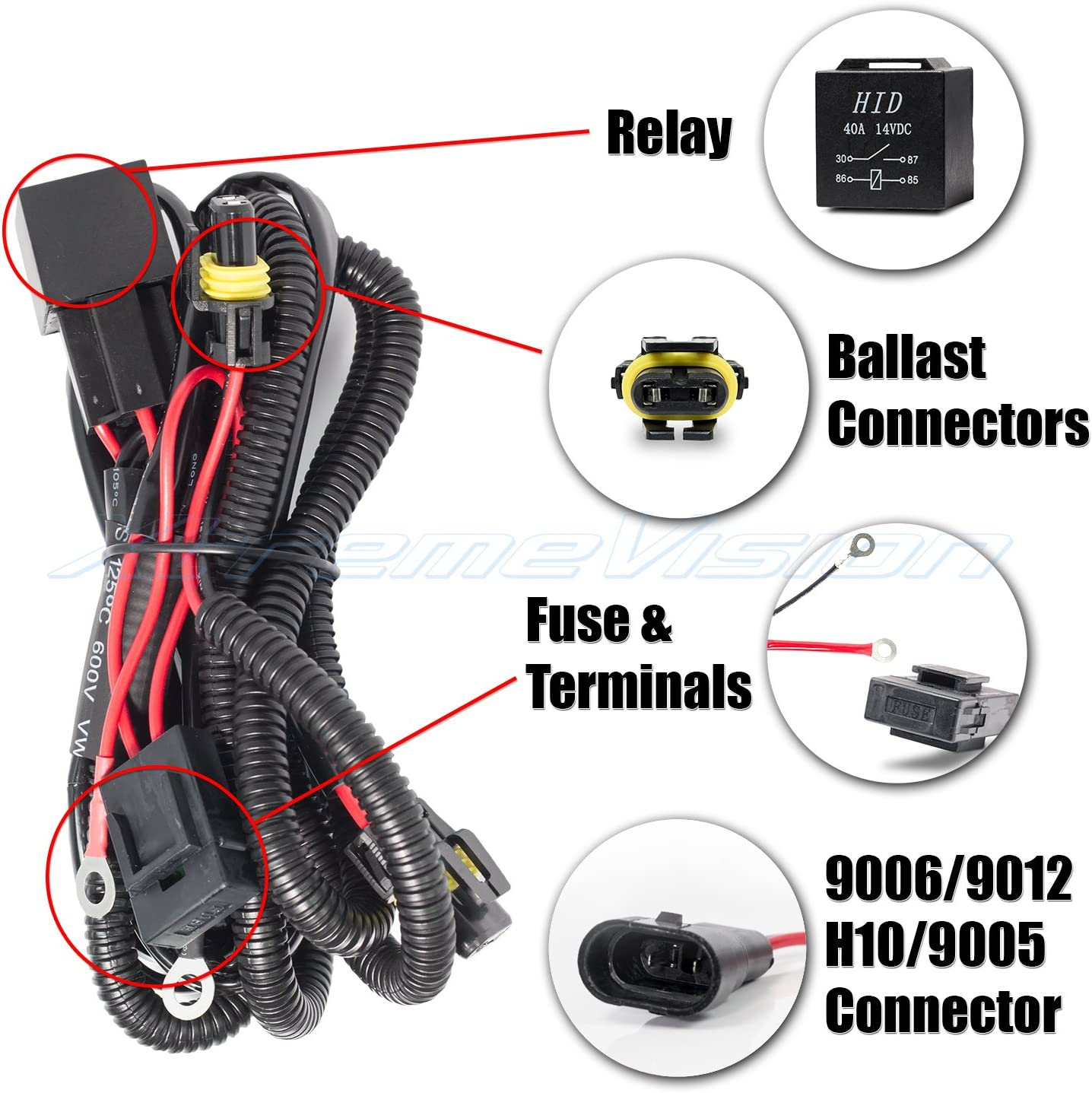 Carpartsinnovate For HID Xenon Conversion Light Relay Wiring Harness Kit 9005 9006 H1 H3 H7 H8 H9 H11